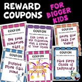 Back to School Reward Coupons for Bigger Kids Classroom Management