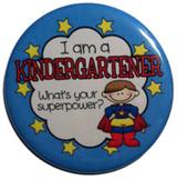 "Reward Buttons - I'm a kindergartener. What's your superpower? BOY 10 pc.  2.25"""