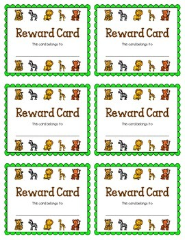 Reward Card {Jungle Animals}