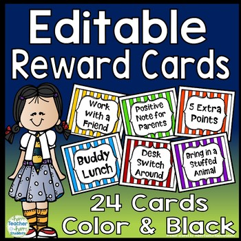 Reward Cards: 24 EDITABLE Reward Cards (Color and Black option)