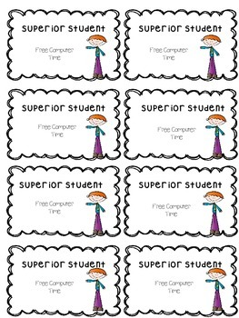 Reward Cards for Superior Students