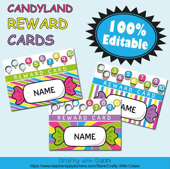 Reward Cards with Hole Punch Points in Candy Land Theme - 100% Editble