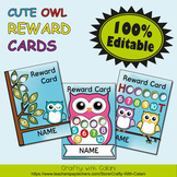 Reward Cards with Hole Punch Points in Cute Owl Theme - 10