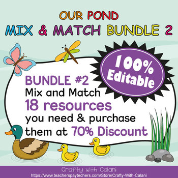 Reward Cards with Hole Punch Points in Our Pond Theme - 100% Editble