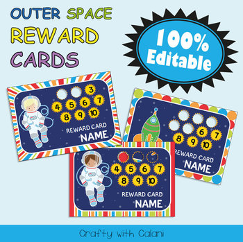 Reward Cards with Hole Punch Points in Outer Space Theme - 100% Editble