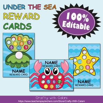 Reward Cards with Hole Punch Points in Under The Sea Theme - 100% Editble