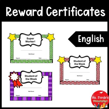 Reward Certificates English (Colour & Black/White)