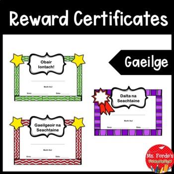 Reward Certificates (GAEILGE) Colour & Black/White