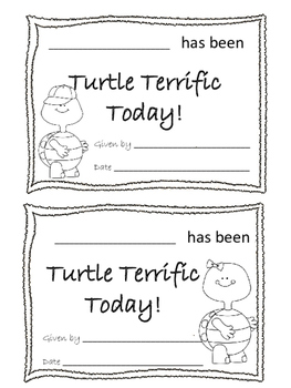 Turtle Reward Certificates
