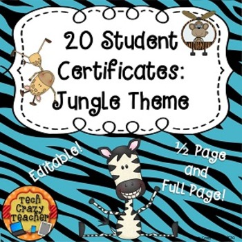 Reward Certificates for Students: Jungle Themed (Editable)