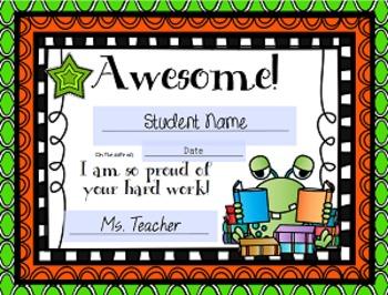 Reward Certificates for Students: Monster Themed (Editable)