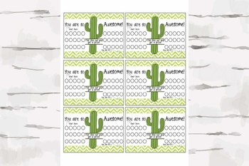 Reward Chart, Classroom management, Cactus decor