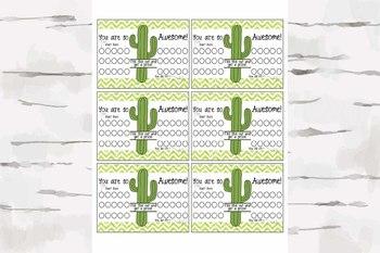 Reward Chart, Classroom management, Cactus decor
