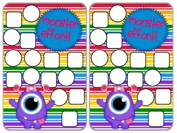 Reward Chart Sticker Chart Monster Theme