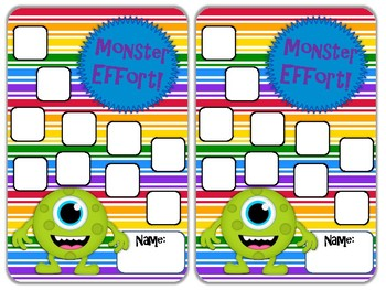 Reward Chart Sticker Chart Monster Theme 2