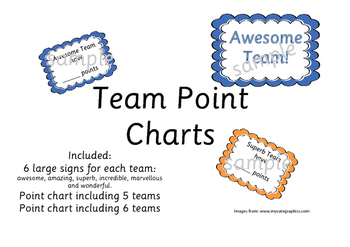 Reward Chart for up to 6 Classroom teams