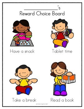 Reward Choice Board (for students with behaviors or special needs)