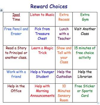 Reward Choice Menu