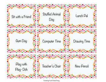Classroom Management Reward Coupons