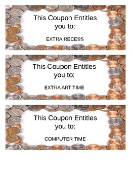 Reward Coupons (21 Different + 9 Blank)