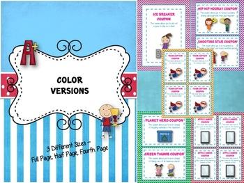 Reward Coupons - 50+ Coupon Rewards - Customizable {Color + Black & White}