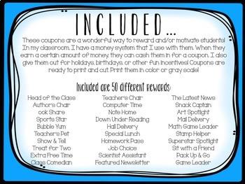 Reward Coupons- 50 different coupons!