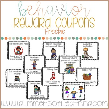 Reward Coupons: 55 FREE rewards to support classroom management