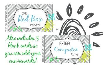 Reward Coupons / Cards for Good Behavior Management