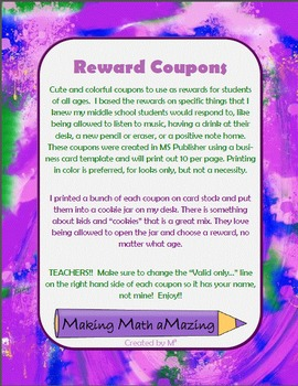Reward Coupons - Great for all grade levels! MS Publisher files