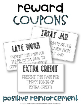 Reward Coupons- Positive Reinforcement