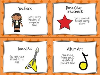 Reward Coupons-Rock and Roll Theme