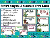 Reward Coupons and Classroom Store Labels Editable