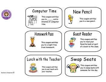 Reward Coupons for Classroom Management