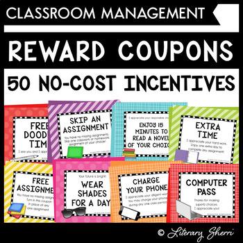 Reward Coupons for Positive Classroom Management and Behavior Management