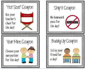 Reward Coupons for Positive Student Behavior
