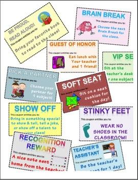Reward Coupons free positive reinforcement PBIS