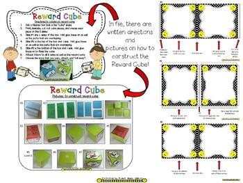 Reward Cube (EDITABLE) in a B/W Polka Dot Print with Happy Faces