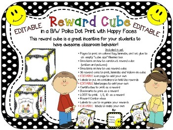 Reward Cube (EDITABLE) in a B/W Polka Dot Print with Happy Faces