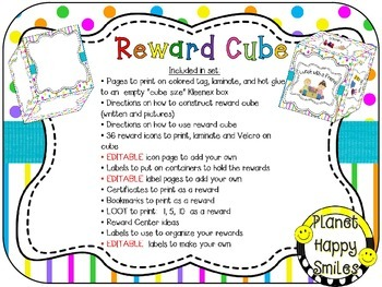 Reward Cube (EDITABLE) in a Bright Polka Dots and Stripes Theme
