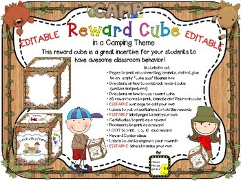 Reward Cube (EDITABLE) in a Camping Theme