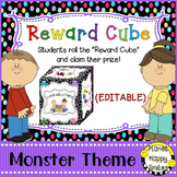 Reward Cube (EDITABLE) in a Monster Theme with Multi Colored Polka Dots