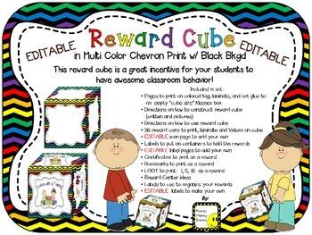 Reward Cube (EDITABLE) in a Multi Colored Chevron Print with Black Background