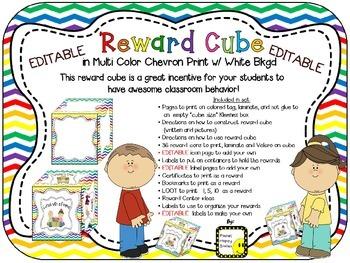 Reward Cube (EDITABLE) in a Multi Colored Chevron Print with White Background