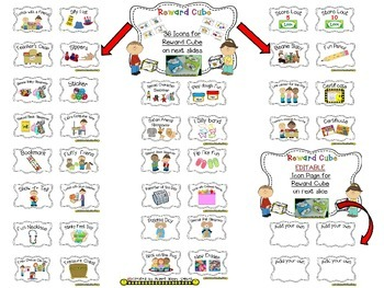 Reward Cube (EDITABLE) in a Multi Colored Polka Dot Print