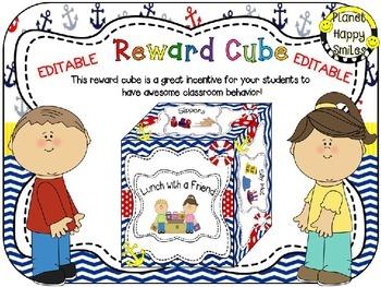 Reward Cube (EDITABLE) in a Nautical Theme