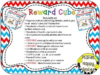 Reward Cube (EDITABLE) in a Red, White and Blue Chevron Theme