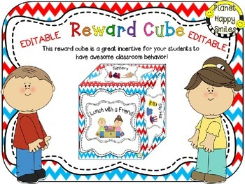 Reward Cube (EDITABLE) in a Red, White and Blue Chevron Theme