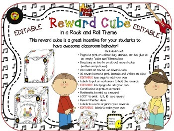 Reward Cube (EDITABLE) in a Rock and Roll Theme