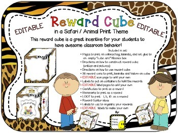 Reward Cube (EDITABLE) in a Safari/Animal Print Theme