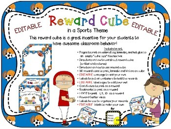 Reward Cube (EDITABLE) in a Sports Theme